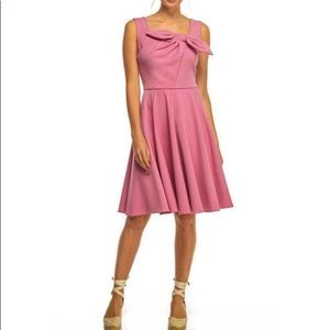 Gal Meets Glam Zoe Rose Pleated Bow A-Line Dress